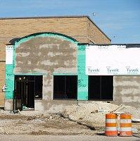 Work resumes on the new downtown Subway Sandwich shop