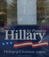 Hillary Clinton campaign signs on the front door
