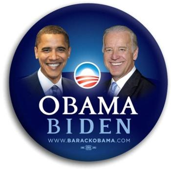 Obama and Biden Campaign button.  Image from the www.barackobama.com website.