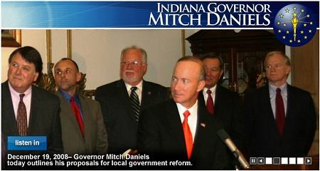 Governor Mitch Daniels at the press conference to announce his initiatives for reforming local government.  Image from the www.in.gov website. Click the image for audio of the press conference.