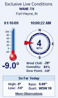 Temperature and stats at 10:00 am.  photo of weatherbug program.