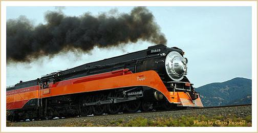 SP Daylight 4449 steam locomotive.  Photo by Chris Fussell.