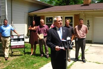 Mayor Tom Henry at the press conference.  Courtesy photo from the City.