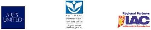 Logos: Arts United, National Endowment for the Arts and the Indiana Arts Commission