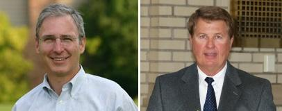 Council Mitch Harper left and Geoff Paddock Right.  Harper's photo is a courtesy photo while Paddock's is an original AFW.