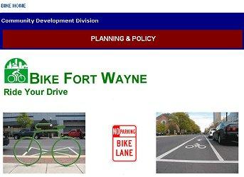 Screen capture of Bike Fort Wayne section of the City's website.