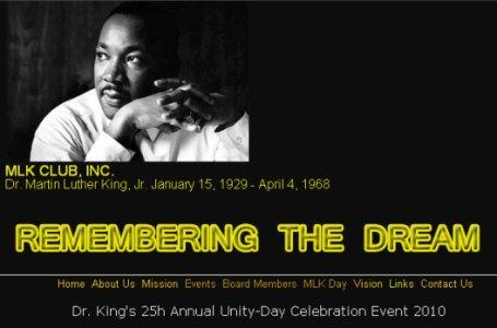 MLK Club's website screen capture
