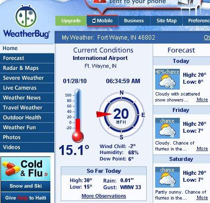 Weatherbug screen capture from January 28, 2010 at 6:34 am.