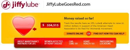 Screen capture of Jiffy Lube Goes Red website.