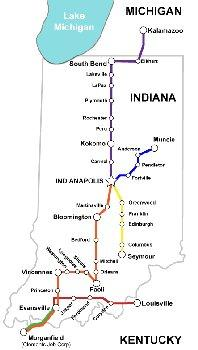 Map of Hoosier Ride routes.