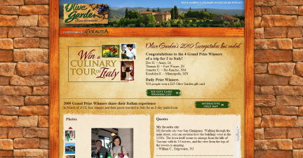 Screen capture of the Olive Garden's Trip to Italy website.