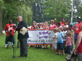 Fort Wayne Parks & Recreation Director Al Moll announcing the Playful City USA initiative.  Courtesy photo.