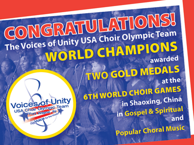Voices of Unity congratulations image from their website.