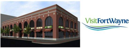 New logo and rendering of new Visit Fort Wayne home.