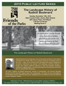 Flyer for Jim Sack's Rudisill Boulevard lecture.