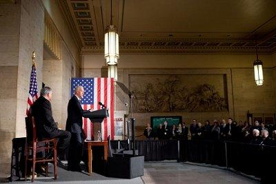 Vice President Joe Biden and Secretary of Transportation Ray LaHood deliver remarks on building a 21st century infrastructure at 30th Street Station in Philadelphia, Pennsylvania.  Photo from whitehouse.gov.
