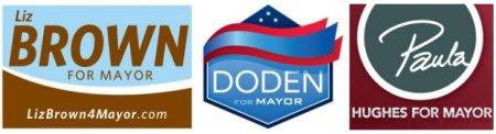 Campaign logos for Liz Brown, Eric Doden and Paula Hughes.
