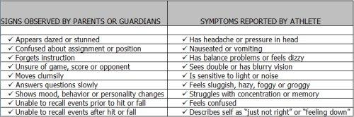 Concussion chart, courtesy image.