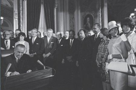 President Lyndon B. Johnson signing the Voting Rights Act of 1965. Courtesy image.