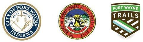City of Fort Wayne seal, Allen County Board of Commissioners seal and Fort Wayne Trails logo.