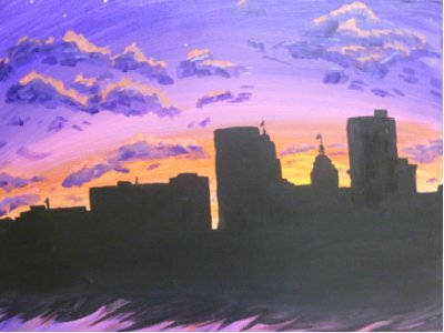 Wine and Canvas Fort Wayne skyline at dark canvas.