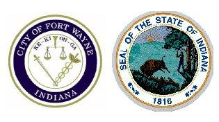 Fort Wayne, State of Indiana seals.