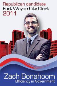 Zach Bonahoom for City Clerk campaign logo.