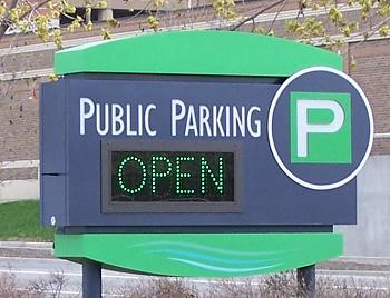 One of the branded downtown parking signs